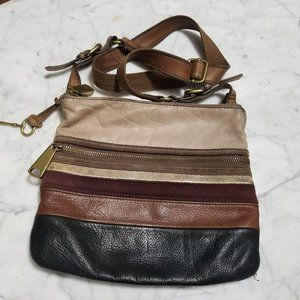 Vintage Striped Fossil Leather and Suede Crossbody